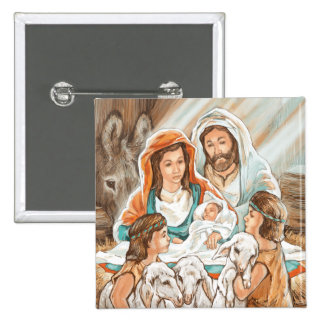 Nativity Painting with Little Shepherd Boys Pins