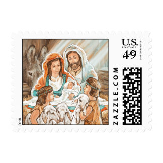 Nativity Painting with Little Shepherd Boys Stamp