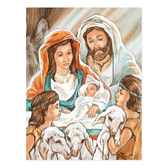 Nativity Painting with Little Shepherd Boys Postcard