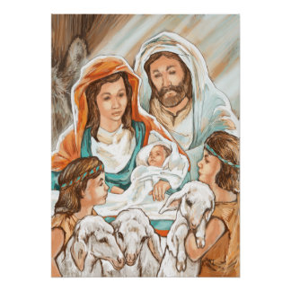 Nativity Painting with Little Shepherd Boys Poster