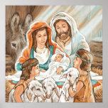 Nativity Painting with Little Shepherd Boys Print