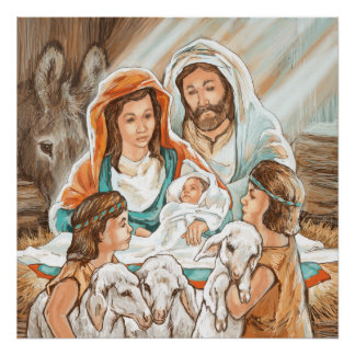 Nativity Painting with Little Shepherd Boys Print