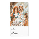 Nativity Painting with Shepherd Boys Gift Tags Custom Shipping Labels