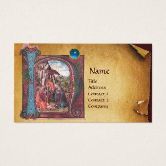 NATIVITY PARCHMENT  Blue Sapphire Monogram Business Card
