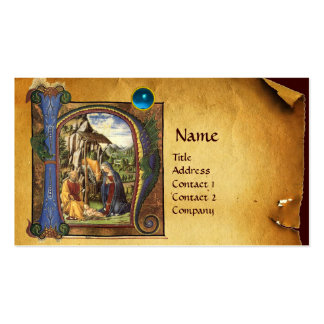 NATIVITY PARCHMENT Bright Blue Sapphire Monogram Double-Sided Standard Business Cards (Pack Of 100)