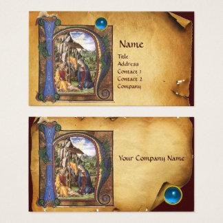 NATIVITY PARCHMENT Bright Blue Sapphire Monogram Business Card