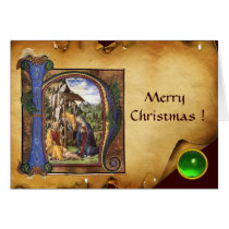 NATIVITY PARCHMENT Green Emerald Monogram Card