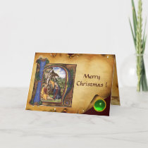 NATIVITY PARCHMENT Green Emerald Monogram Holiday Card