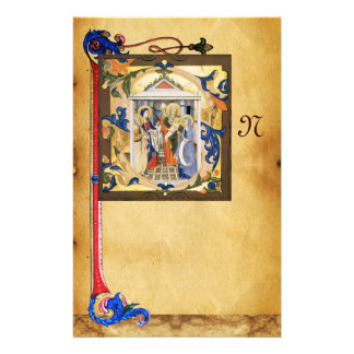 NATIVITY PARCHMENT WITH FLORENTINE FLORAL MONOGRAM STATIONERY