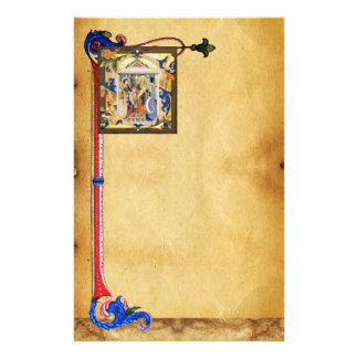NATIVITY PARCHMENT WITH FLORENTINE FLORAL MOTIFS STATIONERY