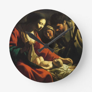 nativity round clock