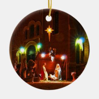 Nativity scene at night christmas ornaments