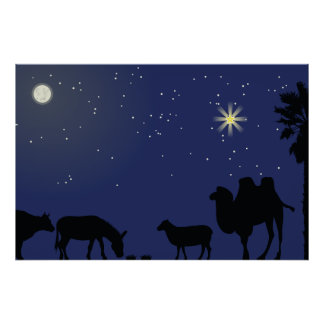 Nativity Scene Backdrop Christmas Poster