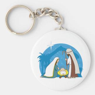 Nativity Scene Basic Round Button Keychain