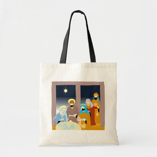 Nativity scene Christian artwork Budget Tote Bag
