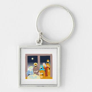 Nativity scene Christian artwork Silver-Colored Square Keychain