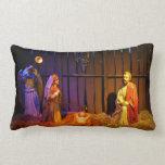 Nativity Scene Christmas Holiday Display Lumbar Pillow