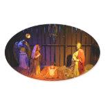 Nativity Scene Christmas Holiday Display Oval Sticker