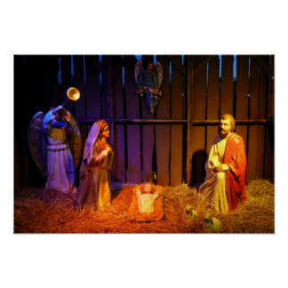 Nativity Scene Christmas Holiday Display Poster