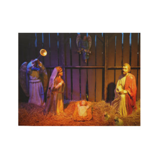 Nativity Scene Christmas Holiday Display Wood Poster