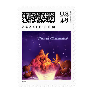 Nativity Scene. Christmas Postage Stamp at Zazzle