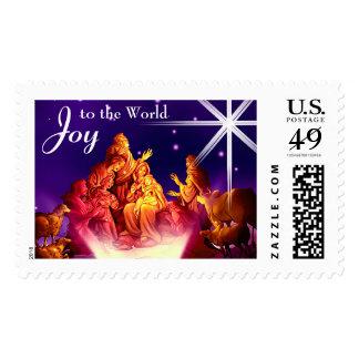 Nativity Scene. Christmas Postage Stamp