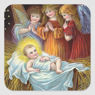 """Nativity Scene"" Christmas Square Stickers"