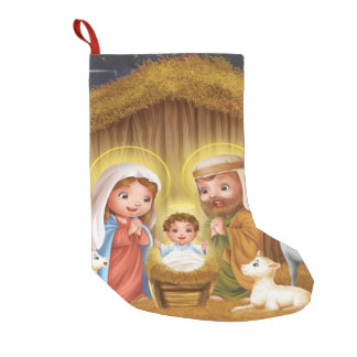 Nativity Scene Christmas Stocking Small Christmas Stocking