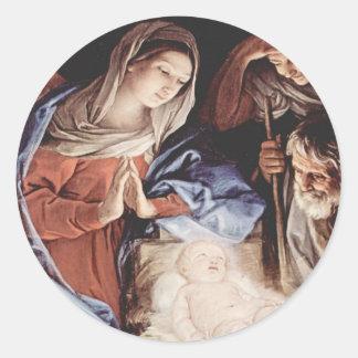 Nativity Scene Classic Round Sticker