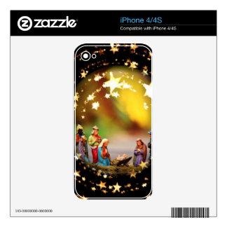 Nativity Scene Crib Virgin Mary Infant Jesus Stars iPhone 4 Decal