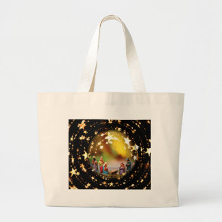 Nativity Scene Crib Virgin Mary Infant Jesus Stars Large Tote Bag