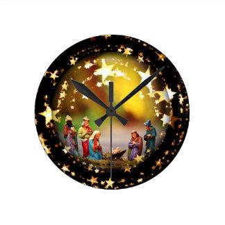 Nativity Scene Crib Virgin Mary Infant Jesus Stars Round Clock