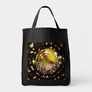 Nativity Scene Crib Virgin Mary Infant Jesus Stars Tote Bag