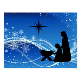 Nativity Scene Customized Christmas Postcard
