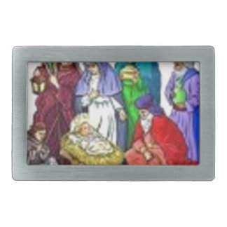 NATIVITY SCENE DECOR RECTANGULAR BELT BUCKLE