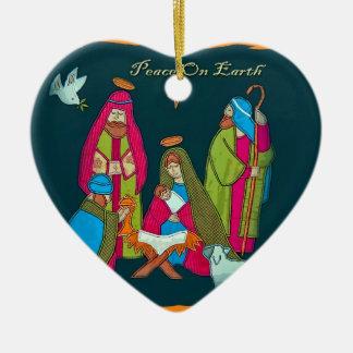Nativity Scene Heart Ornament