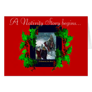 Nativity Scene & Holly Branches Christmas Card