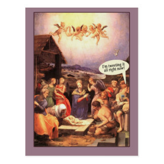Nativity Scene Humorous Cards Tweeting it Now