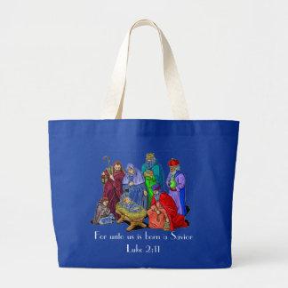 nativity scene ladies tote bag