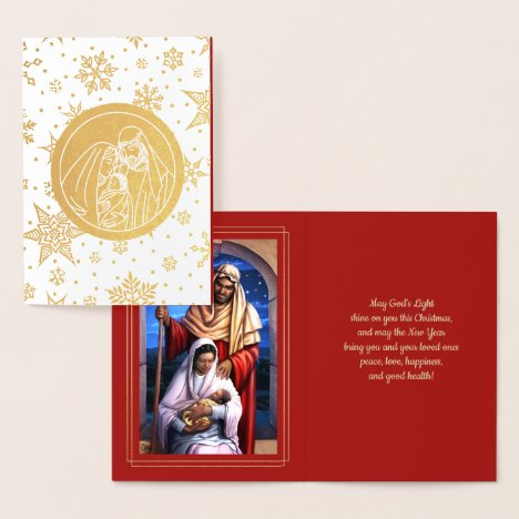 Nativity Scene Luxury Real Foil Christmas Cards