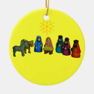 Nativity Scene/Nacimiento Double-Sided Ceramic Round Christmas Ornament