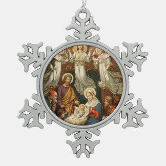 Nativity Scene Pewter Snowflake Christmas Ornament