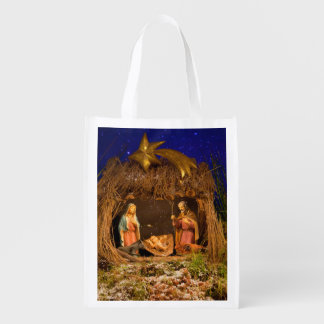 Nativity scene reusable grocery bag