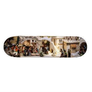 Nativity Scene Setup for Christmas Skateboard Deck
