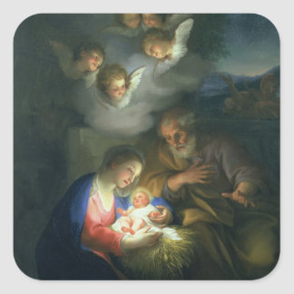 Nativity Scene Square Sticker