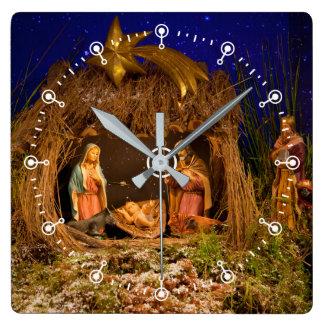 Nativity scene square wall clock