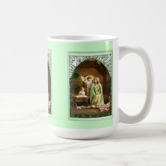 Nativity scene with an angel coffee mug