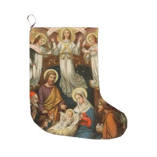 Nativity Scene with Angels Christmas Stocking Large Christmas Stocking