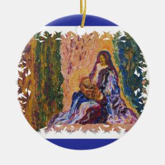 Nativity Scene with Baby Jesus and Mary Fine Art Ceramic Ornament