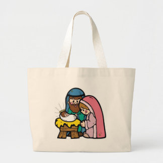 Nativity scene with baby Jesus Tote Bags